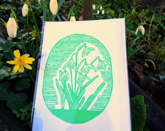 Snowdrop Linocut Card - Spring Botanical Linoprint Greeting Card -  Lovely Birthday Card or Mothers Day Card for Flower or Garden lovers.