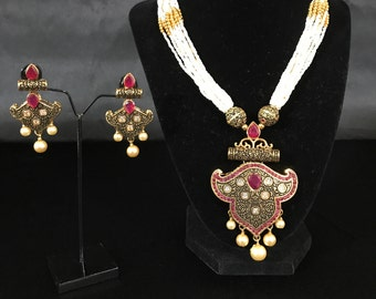 Indian Pendent Set - Indian Jewelry - Indian Bridal - Pakistani Jewelry - Pakistani Bridal - Mughal Jewelry - Bollywood Jewelry Set
