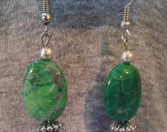 Green howlite earrings