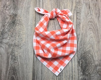 Orange Gingham Plaid Dog Bandana, Plaid Dog Bandana, Dog Scarf, Orange Dog Bandana, Pet Bandana, Pet Gift