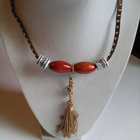 Two Leather Beaded and Tassel Necklaces, Leather Strand Necklace and Tassel, Beaded Tassel Necklace, Tribal Beads, Tassel Necklace, Youth