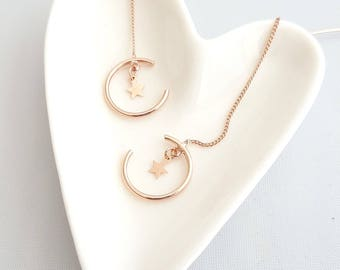 Rose Gold Crescent Moon Star Threader,Crescent Moon Threader,Crescent Star Earrings,Crescent Threader,Geo Dangle,Geo Crescent Star Threader