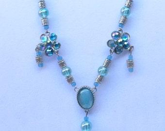 Blue leather lace and rhinestone necklace set