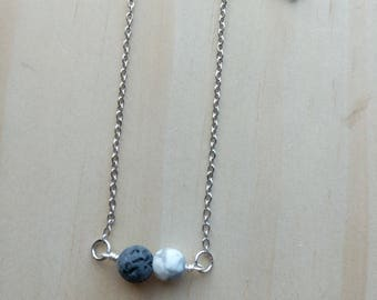 Faceted Howlite + LAVA Diffuser Necklace | minimalist | | dainty | lava Necklace, Diffuser Necklace
