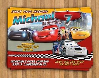 Cars 3 Invitation, Cars 3 Birthday Invitation, Disney Cars Invitation, Cars 3 Party, Lightning McQueen Invitation, Personalized JPEG