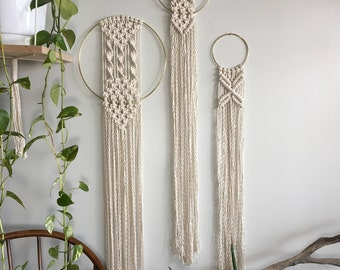 Set of 3 woven wall hangings with fringe; Bohemian macrame tapestry; Textile wall art -- MADE TO ORDER