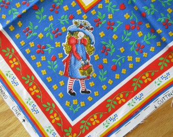 Vintage Holly Hobbie Fabric Pillow Panel, Holly Hobbie Pillow Square, Child's Room Decor, Sewing Project, Vtg. Holly Hobbie Pillow Project
