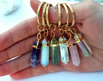 GOLD CRYSTAL KEYCHAIN: Custom Crystal Keychain, Crystal Point Keychain, Gemstone Keychain, Quartz Crystal Keyring, Amethyst Quartz Key Chain