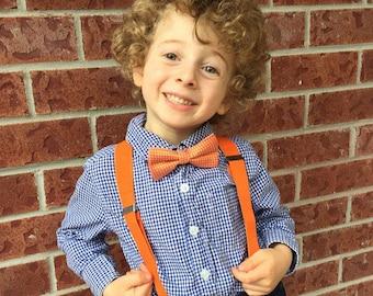 Baby suspenders- Set-orange baby suspenders-toddler suspenders-Bowtie Set-orange suspenders-suspenders-Halloween suspenders-boy