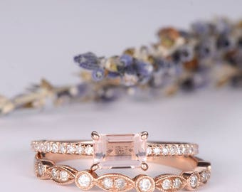 Morganite Bridal Set Rose Gold Engagement Ring Diamond Wedding Band Women Art Deco Antique Stacking Pave Anniversary Gift Promise Everyday