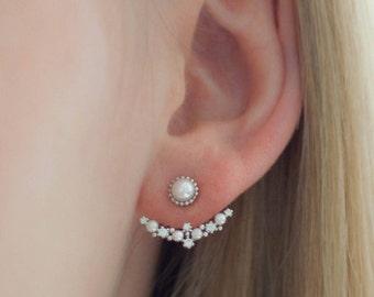 Delicate ear jackets silver cubic zirconia beads