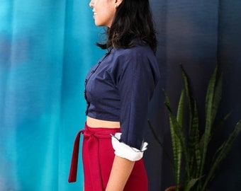 Vintage cropped button up blouse