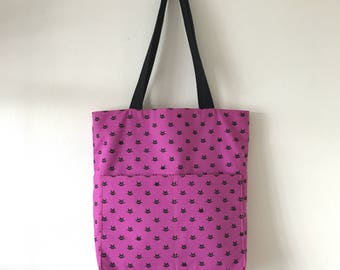 "Handmade tote bag, carry all bag for knitting project 13.5"" x 11.75"" x 3"" *Black Cats Halloween*"