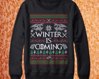 Game Of Thrones Winter Is Coming Christmas Sweater Pullover For Men Women Dragon X-mas Ugly Style - Great Valentine's Day Gift for Her / Him