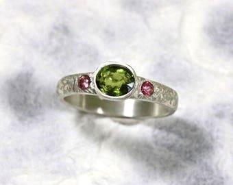 tourmaline engagement ring sapphire engagement ring dress ring  friendship ring 18 years old ring anniversary ring green tourmaline ringTou3