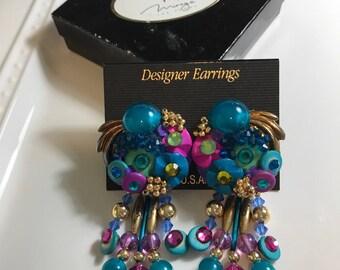 Colorful Carnival Earrings, Colorful Earrings, Clip Earrings, Carnival Earrings, Vintage Earrings