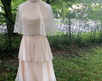 1960's Pale Pink Chiffon mid length dress by Miss Elliette of California