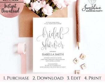 Silver Foil Script Font White Bridal Shower Invitation Template, Printable 5x7 Bridal Shower Invitation, Editable PDF Digital Download