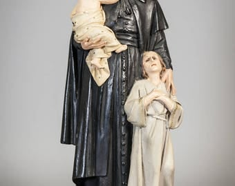 "St Vincent De Paul with Children Statue | Religious Saint Figure | Wood with Glass Eyes | Great Apostle of Trumpets Figurine | 13"" Large"