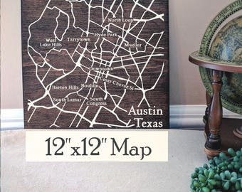 Austin Map, Large Wood Map, Austin City Map, Austin Wall Art, Austin Wood Map, Austin Art, Personalized Map, Custom City Map by Novel Maps