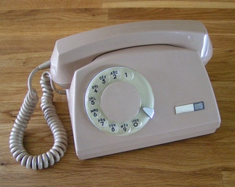 Very Rare Retro Rotary Dial European Telephone, Modern Style Vintage Phone made in Soviet-Era Poland in 1979