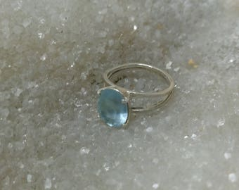 Ring AIGUE MARINE 3.97 Gr BAMG1 - faceted and silver plated support