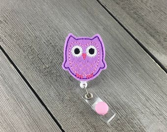 Purple and Pink Owl retractable ID badge reel