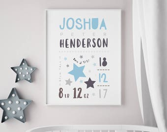 Personalised Baby Birth Print - Nursery / newborn gift - With or without frame - Stars