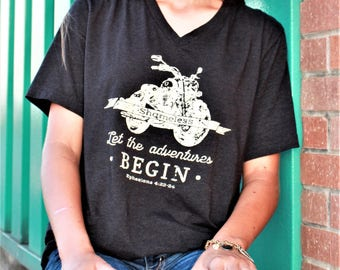 SHAMELESS black v-neck tee with vintage-style motorcycle graphic