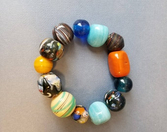 Colorful chunky bead bracelet