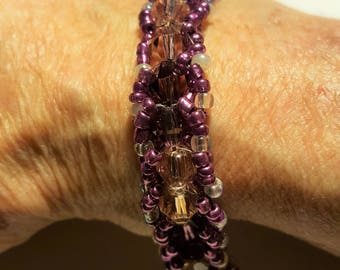Hand Woven Beaded Bracelet - Amethyst Crystal beadwork w Light, Dark & Purple - BoHo Styling