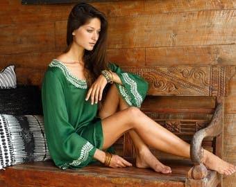 Emerald green dress, Short Dress, Bell Sleeves, Scallop Embroidery, Cutwork Embroidery, Short Kaftan
