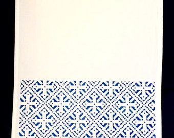 Medieval Cross Heritage Tea Towel in Navy Metallic