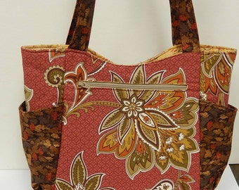 Shoulder Bag, Zipper Handbag, Snap Closure Purse, Eight Pocket Handbag, Floral Cotton Fabric Bag
