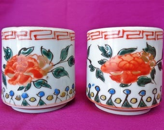 VJ624 :Sake cups pair, Antique Chinese porcelain sake cup ,Hand made hand painted,Marked ,Price forone cup
