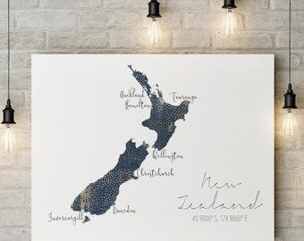 New Zealand Map DIGITAL FILE | nz Wall Art | South Pacific Print | New Zealand Art | NZ Art Print | Kiwi Map | nz Map | Aotearoa Map