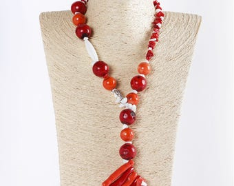 Necklace with red coral and orange and white agate