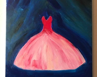 "Original Acrylic Impressionist Painting on Canvas One of a Kind Ballerina Dress ""Curtain Call"""