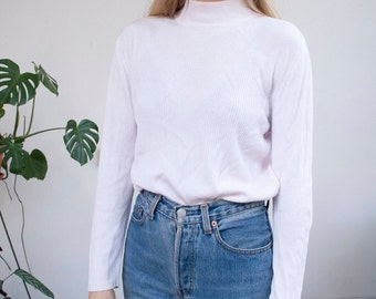 light pink 90's soft knitted turtleneck sweater minimal grunge
