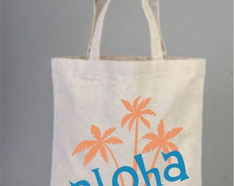 Palm tree bags, Multi palm tree destination wedding, Tote bags, Cotton tote, Everyday bags, Welcome tote bags, Wedding Favor, Palm tree tote