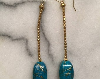 Turquoise gold drizzle earrings, tribal matte gold bead chain