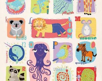 Wild Animal Alphabet Print 12x24 PRINT
