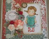 Carte de voeux avec un personnage, fleurs et paillettes