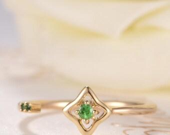 Open Ring Tsavorite Ring Gold Unique Cuff Ring Star Wedding Gift Anniversary Promise Women Thin Dainty Birthday Promise Adjustable Flower