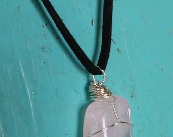 Wire wrapped rose quartz