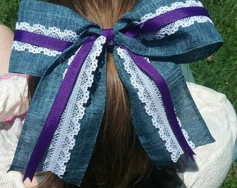 Blue Denim, White Lace, and Purple or Pink Zebra Hair Bow with Hair Tie