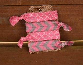 Set of 4 Elastic hair ties/ foe hair ties/ ponytail holders/ fold over elastic/ pink/gray
