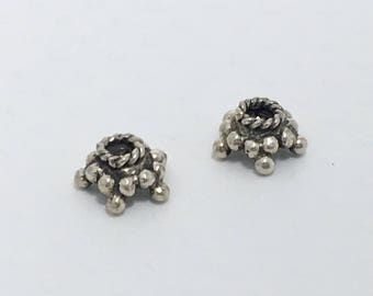 2 pcs Large Genuine Bali Silver Bead Caps, Handmade Solid Granulated Silver Star Bead Caps, Jewelry Making Supplies, Destash - BSBC104