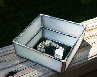 White Square Mirrored Base Stained Glass Jewelry or Keepsake Box