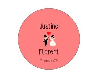 "Pink button, mirror, bottle opener magnet wedding ""Names"""